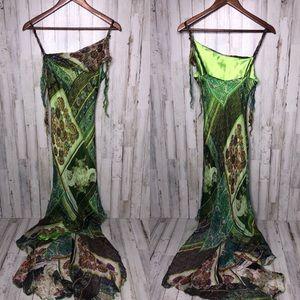 Cache Green Shimmer Asymmetrical Dress